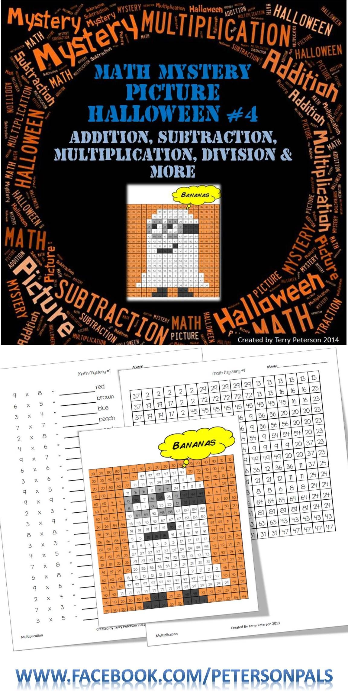 Math Mystery Picture Halloween Addition Subtraction Multiplication ...