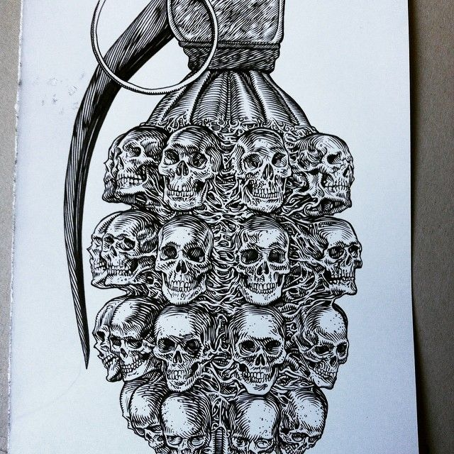 #glennoart #grenade #illustration #military #skulls # ...