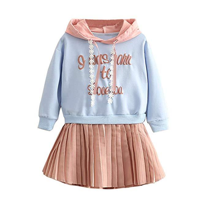 Mud Kingdom Girls Chiffon Tank Tops and Pleated Skirts Outfits 2-Piece Set