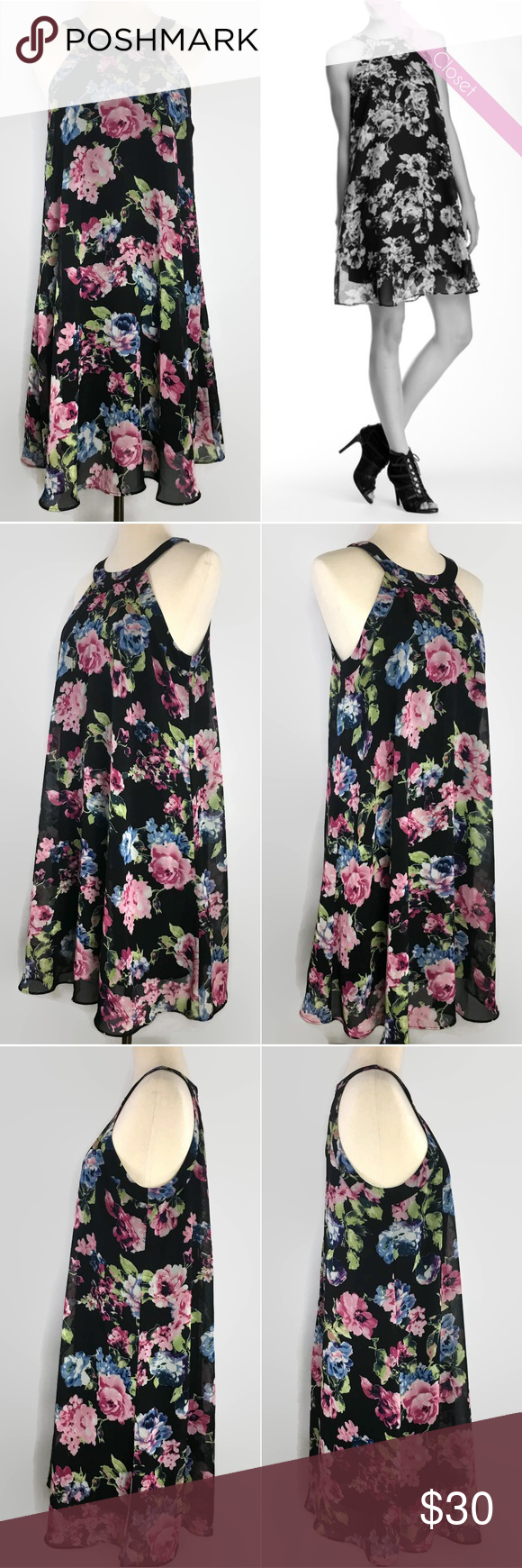 Betsey Johnson Halter Dark Floral Babydoll Dress in 2018  af18e08ce