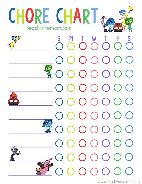 Free printable Inside Out inspired chore chart for kids will keep - chore chart