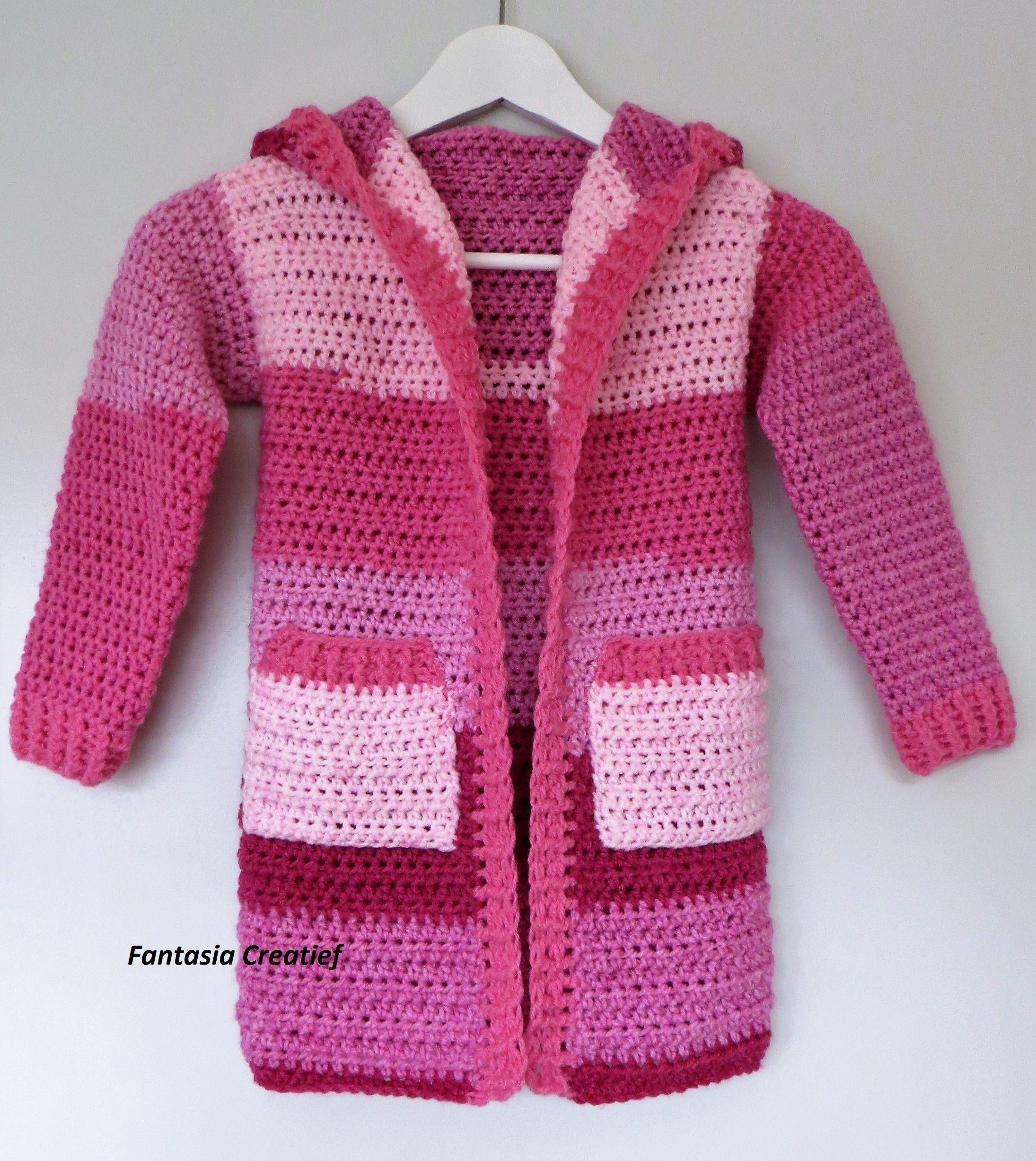 Vest Haken Cardigan Hoodie Crochet Children Fantasiacreatief