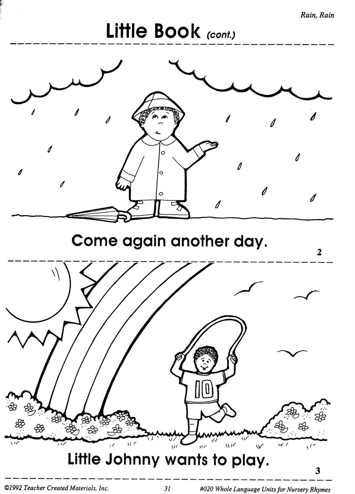 worksheet Rain Rain Go Away Worksheet rain go away come again another day little johnny wants to play