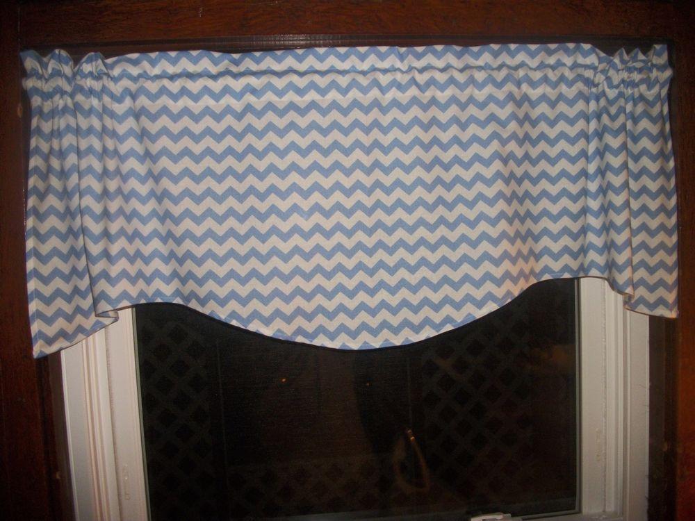 Light Baby Blue Chevron Zig Zag Stripes bedroom fabric curtain topper Valance #Handmade