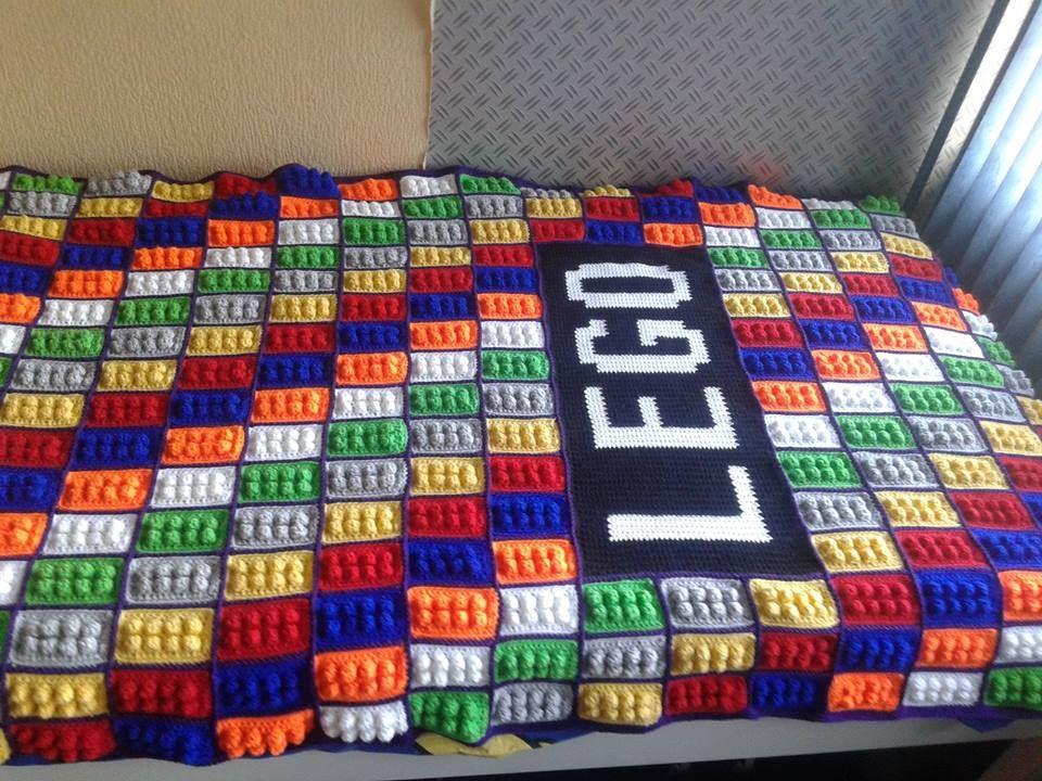 A Bedspread With Lego Motif Crochet Crochet Blanket Lego