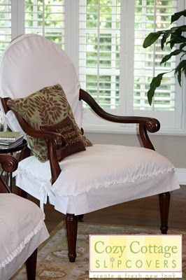 Merveilleux White Slipcovers For Queen Anne Chairs, Slipcovers For Breann