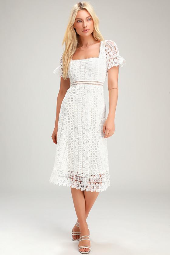 31++ White lace midi dress info