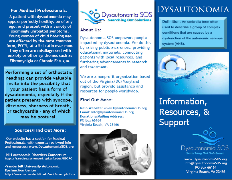Dysautonomia Sos We Have Both General Dysautonomia And Pots Brochures Available For Print Now Ht Dysautonomia Dysautonomia Pots Autonomic Nervous System