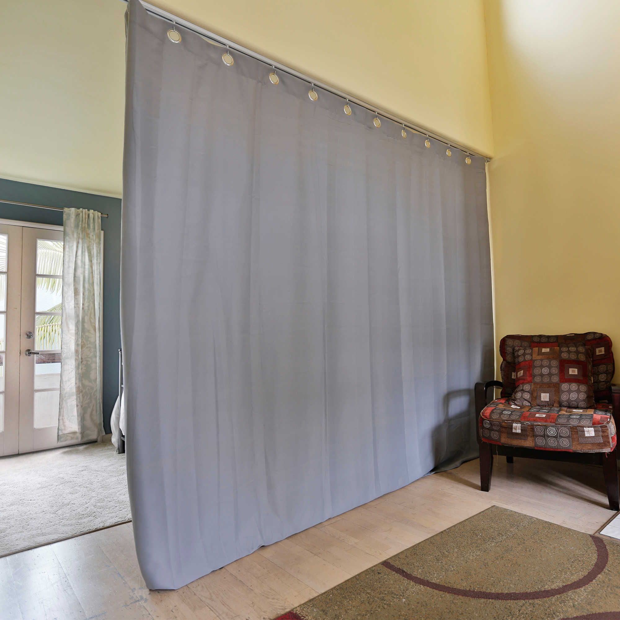 Roomdividersnow Medium Ceiling Track Room Divider Kit B With 9 Foot Curtain Panel In Grey Room Divider Curtain Hanging Room Dividers Small Room Divider