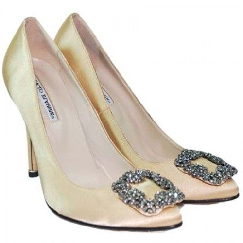 manolo blahnik rose gold shoes