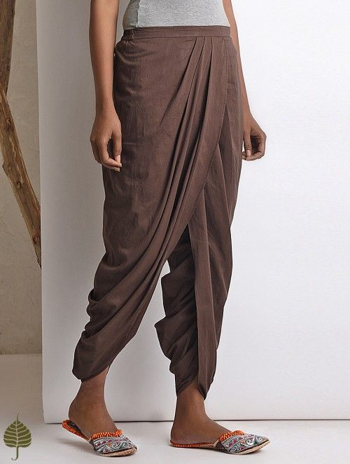 a18608756a Brown Elasticated-waist Cotton Dhoti Pants in 2019 | Clothes | Pants ...