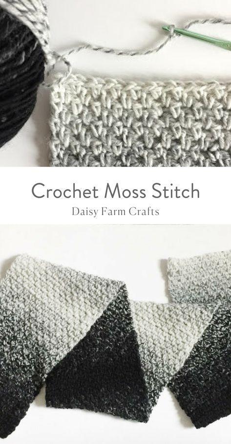 How to Crochet the Moss Stitch   crochet en 2018   Pinterest