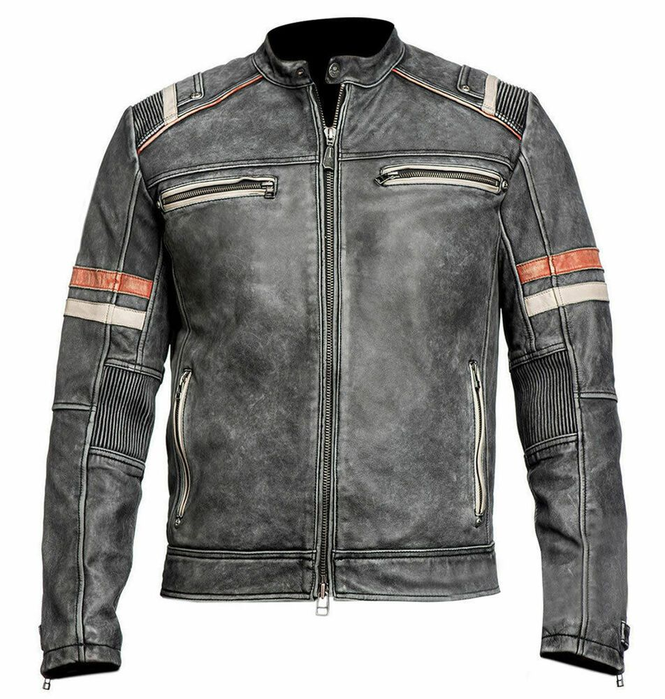 CAFE RACER VINTAGE MENS RETRO 2 MOTORCYCLE DISTRESSED BIKER REAL LEATHER JACKET