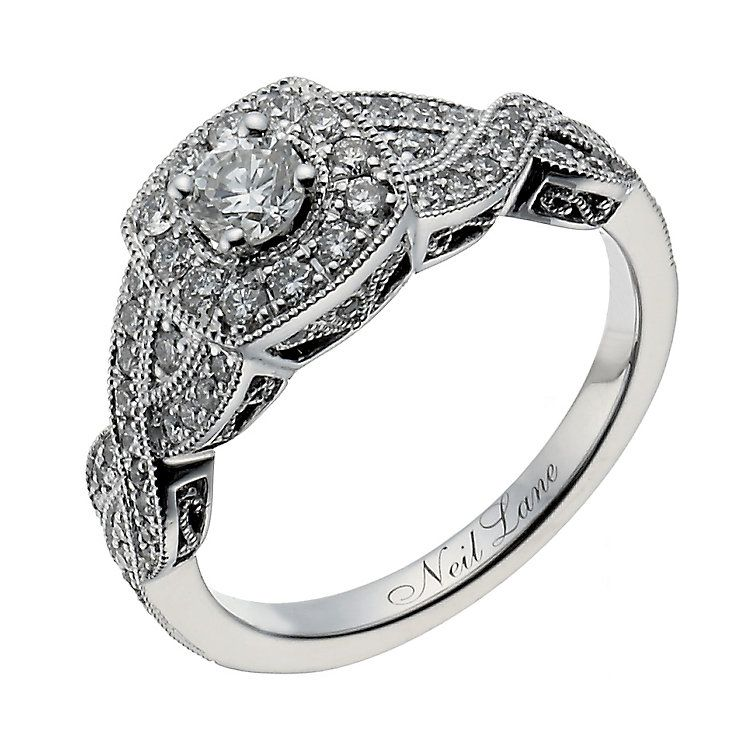 Neil Lane 14ct White Gold 069ct Diamond Halo Twist Ring