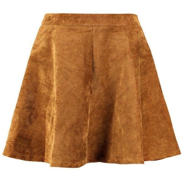 Remi Cord Full Skater Skirt ($34) ❤ liked on Polyvore featuring skirts, bottoms, brown skater skirt, circle skirt, brown skirt, a line flared skirt and skater skirt