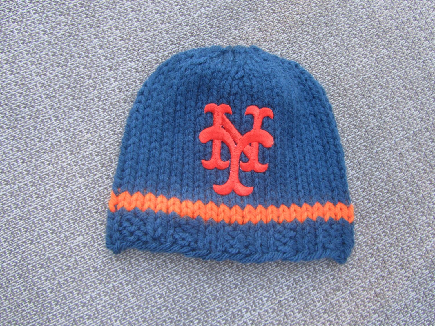 af1fdd9fac0 NEW YORK METS Hand Knit Baby Hat - Mets Baby Hat - Hand Knitted Baby Hat
