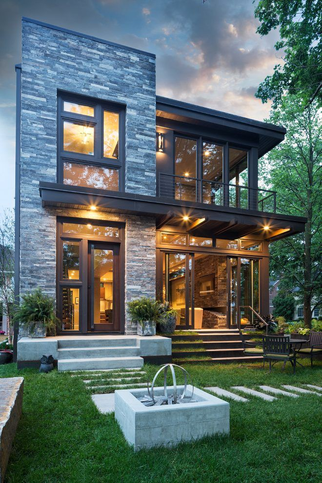 Flat Exterior Design Exterior Contemporary With Stone Wall