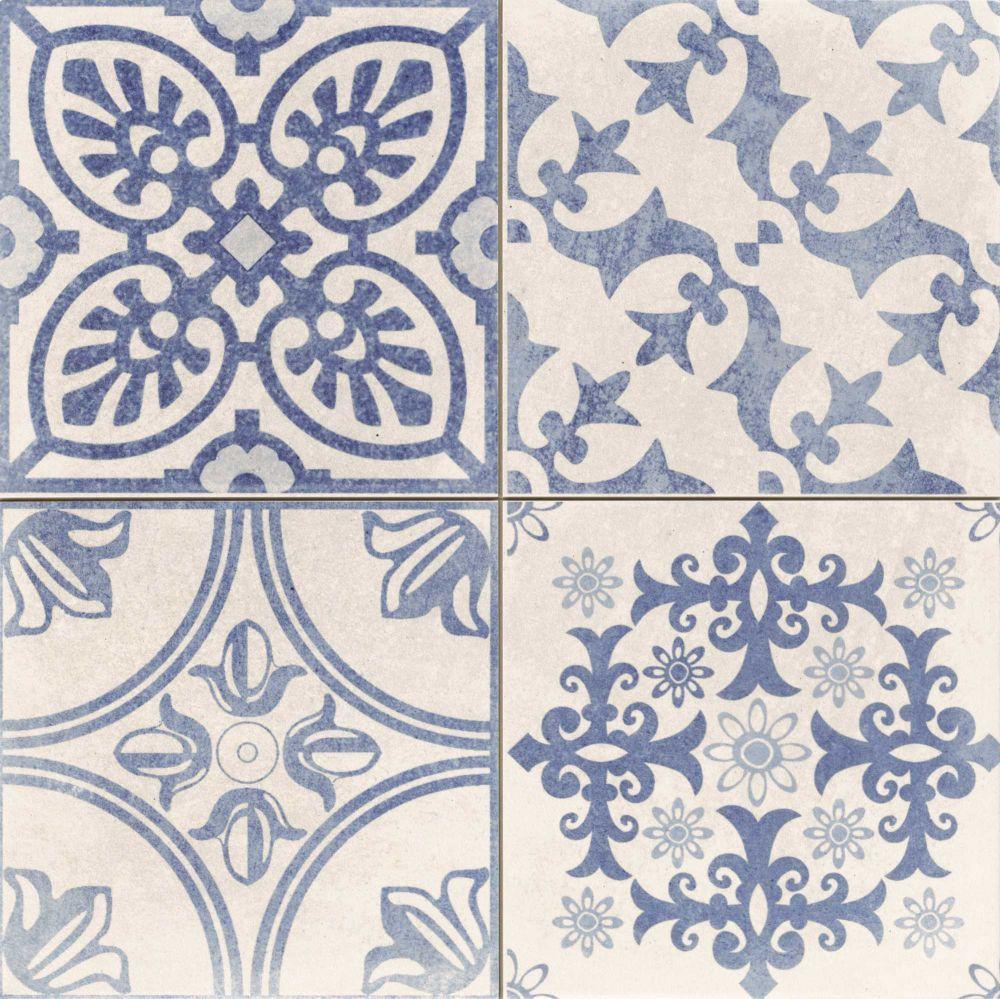 Carrelage Style Ciment Blanc Et Bleu Skyros Deco Blanco 44x44 Cm