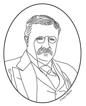Theodore Roosevelt 26th President Clip Art Coloring Page Or Mini Poster Coloring Pages Theodore Roosevelt Theodore