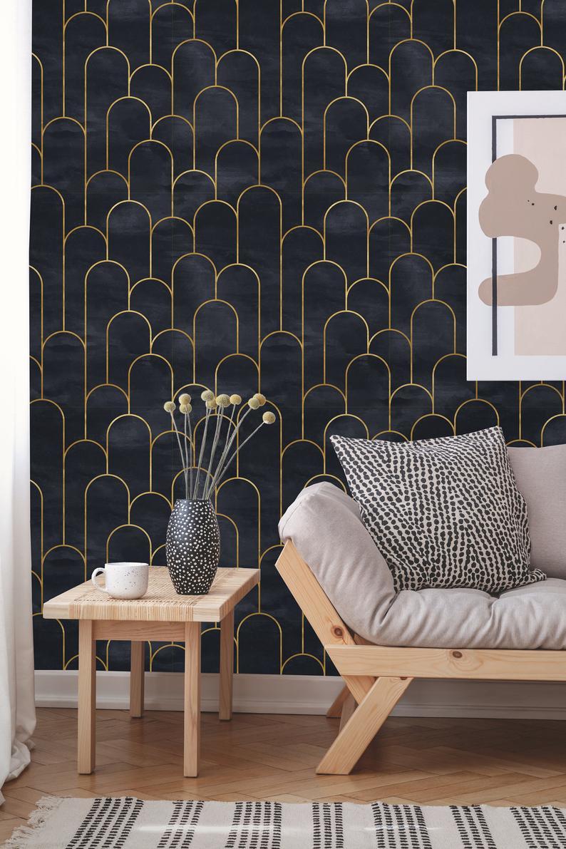 Removable Wallpaper Peel And Stick Geometric Wallpaper Etsy In 2021 Interior Deco Art Deco Wallpaper Art Deco Interior