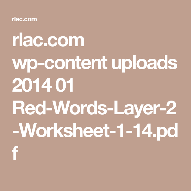 Rlac Wp Content Uploads 2014 01 Red Words Layer 2 Worksheet 1 14