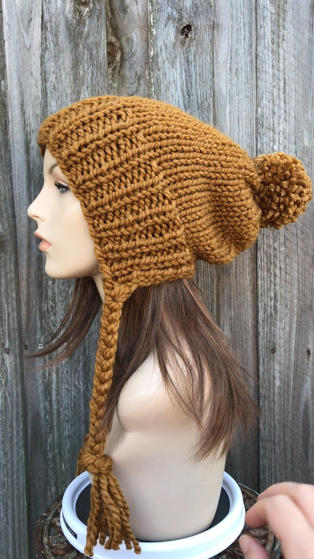 Chunky Hand Knit Slouchy Hat with Pom Pom in Brown Mustard