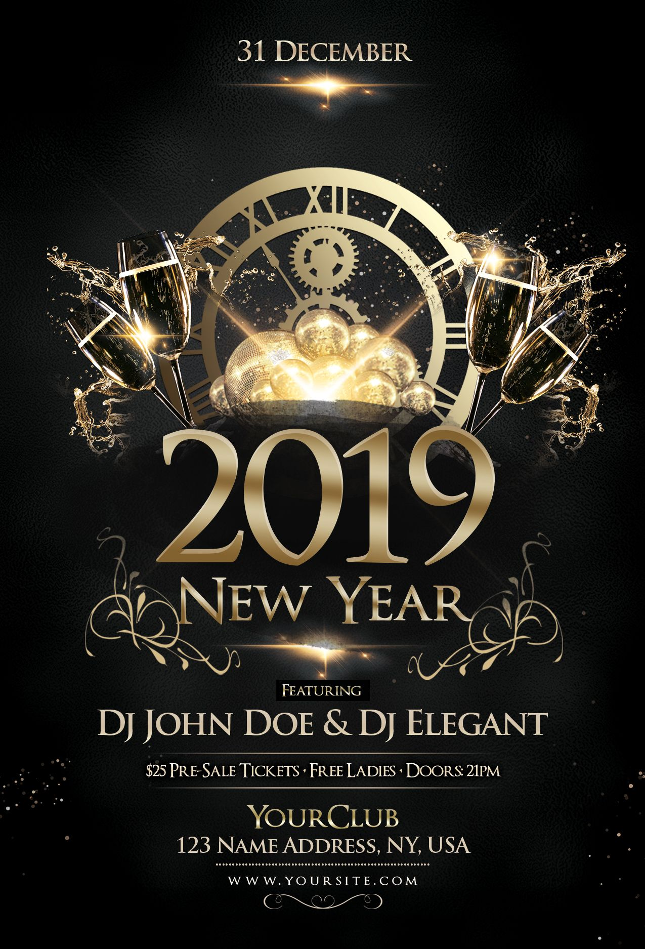 Happy New Year 2019 Free Psd Flyer Template Pixelsdesign Free Psd Flyer Templates Free Psd Flyer New Year S Eve Flyer