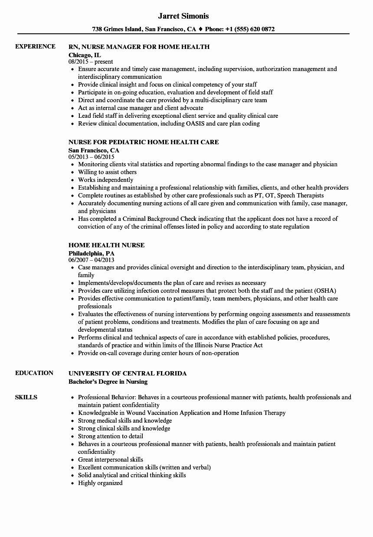 Home Health Nurse Job Description Resume Unique Pediatric