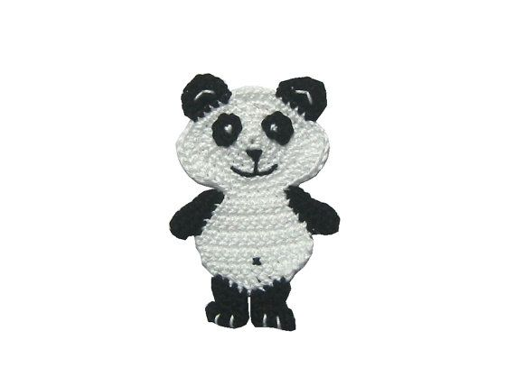 Panda bear crochet applique Panda application by