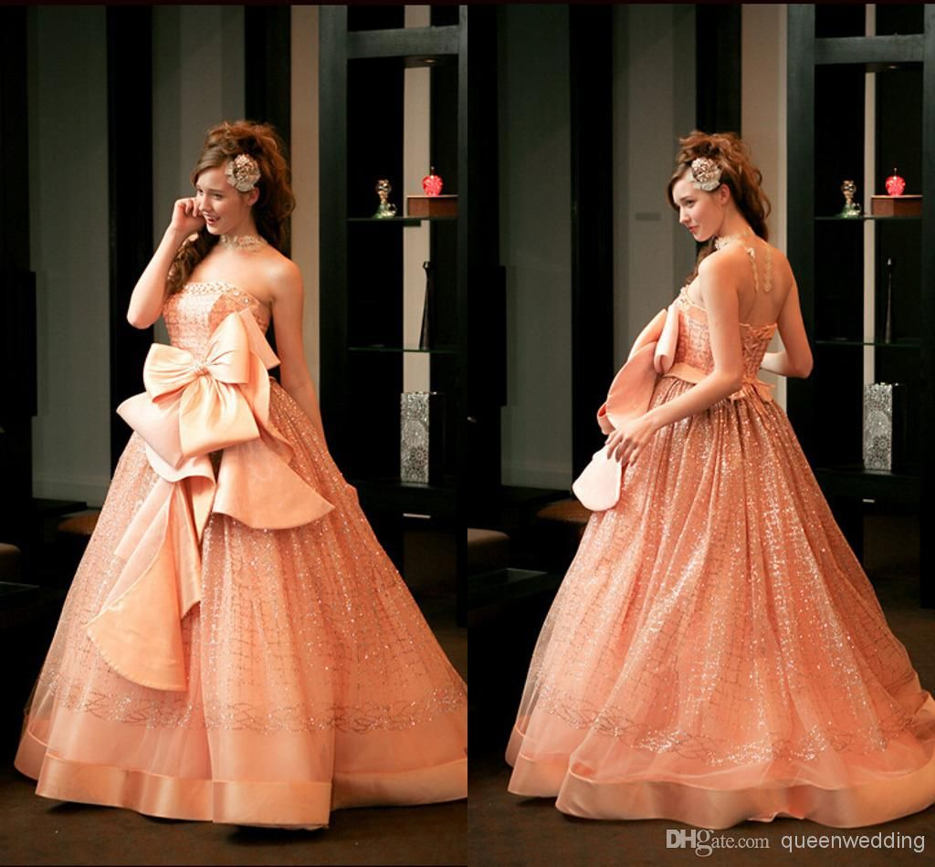 Prom Dress 2014 Collection Strapless Gown With Lace: 2014 New Prom Gown Ball Gown Strapless Lace-up Sequins Bow