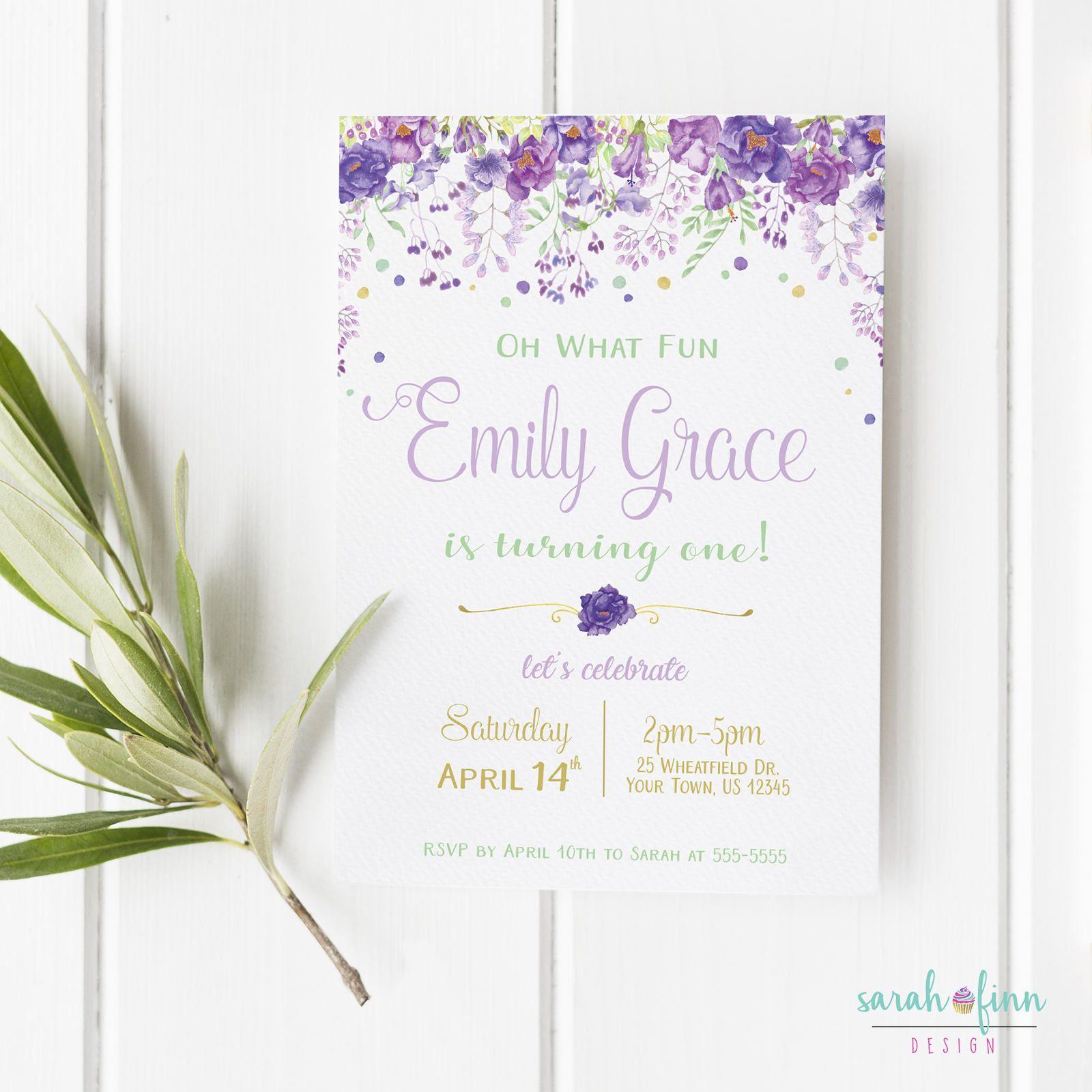 Lavender Mint Invitation Floral Girl First Birthday ...