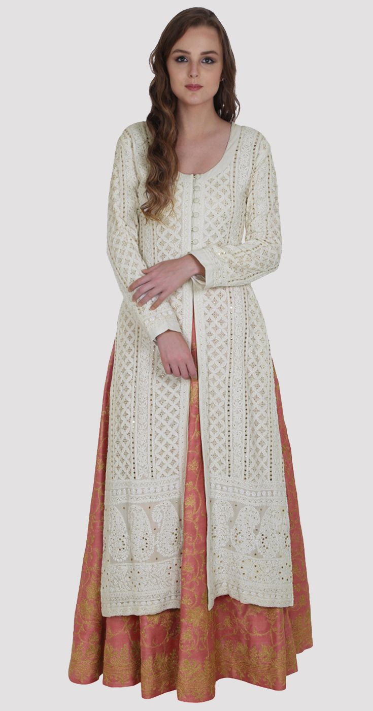 214f80160c Ivory Chikankari And Kamdani Jacket With Kashmiri Tilla Lehenga ...