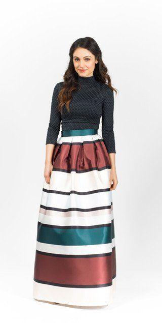 Modest maxi length stripe floor length skirt | Mode-sty