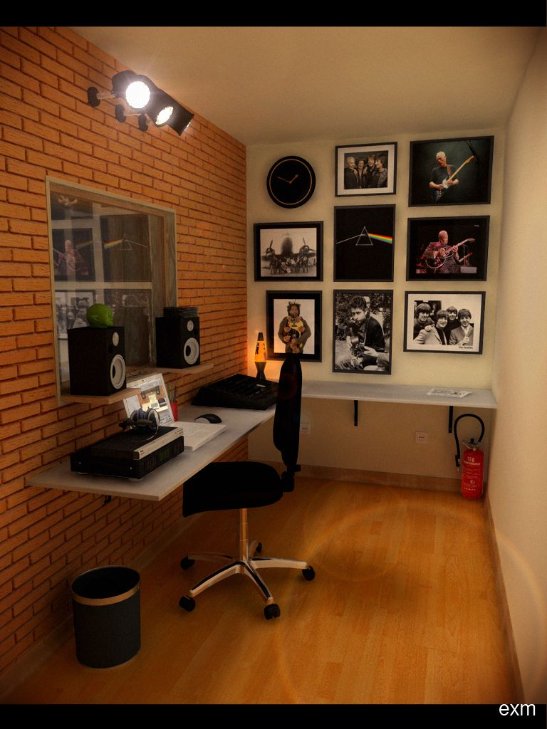 speakers on shelves above desk - do this with ikea lack shelves to ...