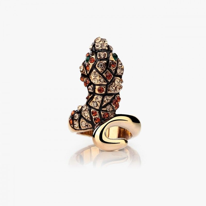 Shop for Snake Cocktail Ring, OKAJewelry Snake Cocktail Ring features Stretch Gold Plated Champagne Crystal Snake Rings in your choice of 8 colors.