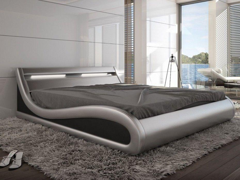 Estructura de cama 160x200 cm piel sintetica plateada con - Estructuras de camas ...