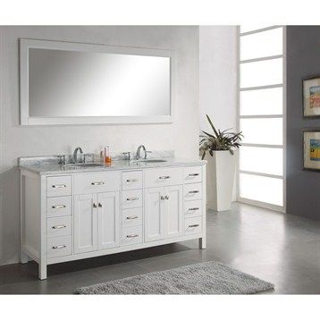 Virtu Usa 72 Caroline Parkway Double Bathroom Vanity White