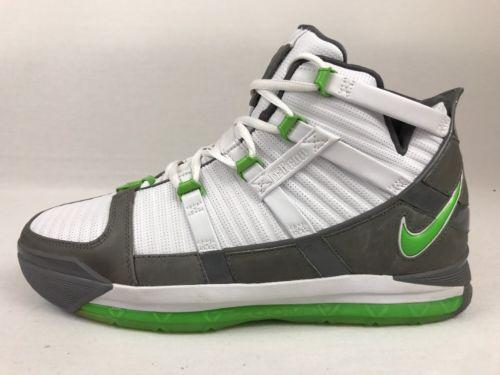 separation shoes 613b3 fff6b NIKE LEBRON III 3 DUNKMAN GREEN WHITE GREY SAMPLE PE SIZE 12