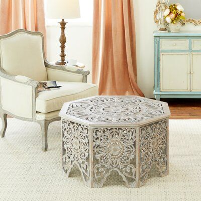 """Bungalow Rose Gray-Washed Decorative Carved Wood Coffee Table, 33"""" X 18"""" 