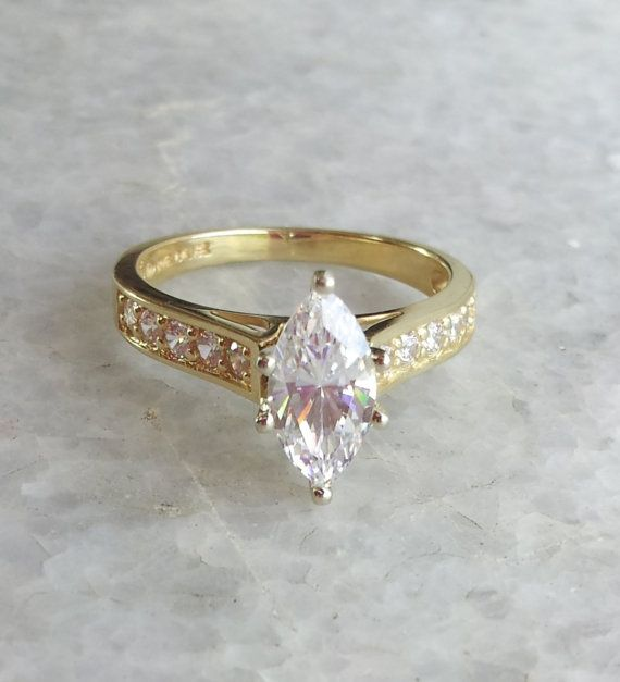 14k Gold Marquise Ring Simulated Marquise Diamond Ring Marquise
