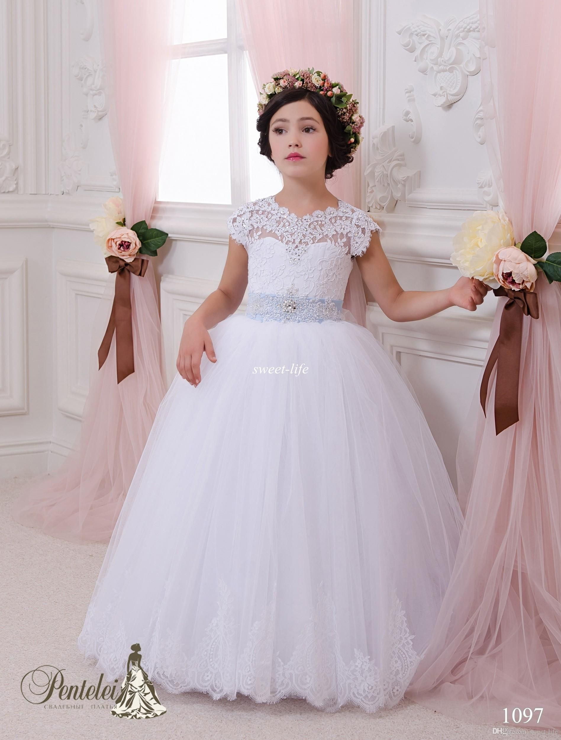 Lace ball gown flower girl dresses 2015 cheap sky blue sash floor lace ball gown flower girl dresses 2015 cheap sky blue sash floor length keyhole back wedding party communion kids gowns girls pageant dress izmirmasajfo