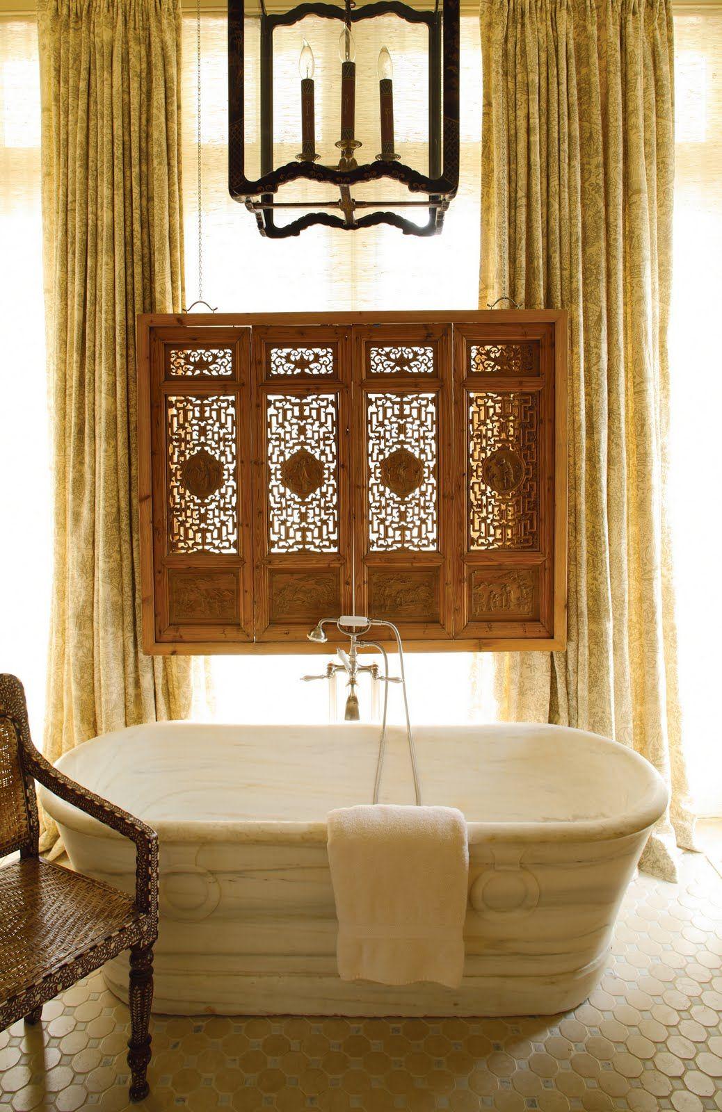 Gorgeous, 18th century marble tub, Kathryn Ireland Toile curtains ...