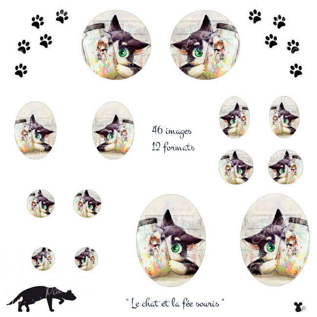"""Relativ images à imprimer pour cabochon """" le chat et la fée souris  MU61"""