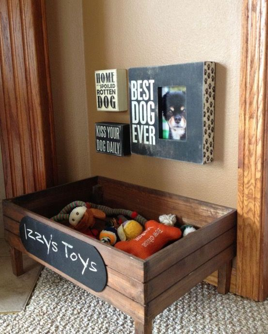 Dog Toy Box Pet Lover Decor Dog Rooms Diy Stuffed Animals
