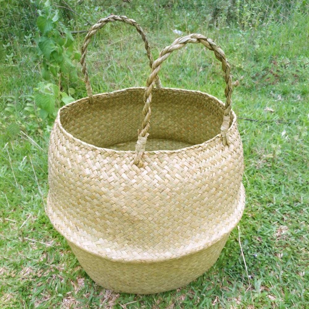 Seagrass Wicker Basket Wicker Basket Flower Pot Folding Basket Beautiful Dicor