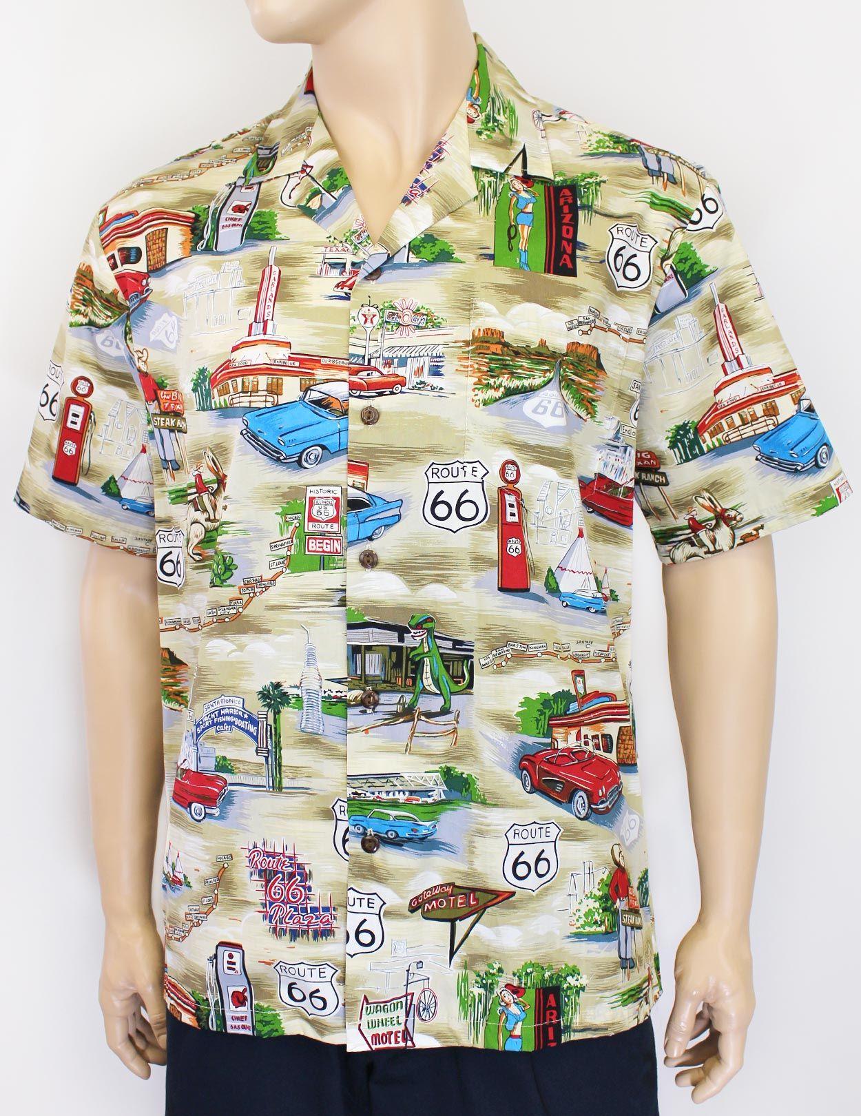 bda2091c FREE Shipping from Hawaii - Rout 66 Shirt design cotton fabric.  #hawaiianshirts #rout66 #carshirts