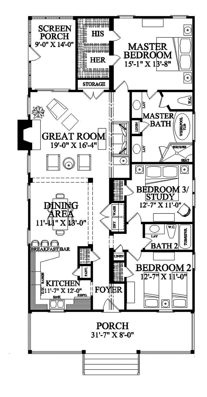 Narrow lot roomy feel hwbdo75757 tidewater house plan for One story house plans for narrow lots
