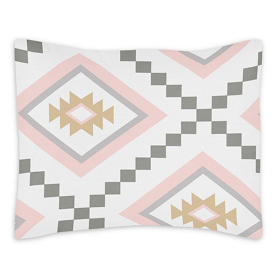 Sweet Jojo Designs Aztec Standard Pillow Sham In Pink/gold