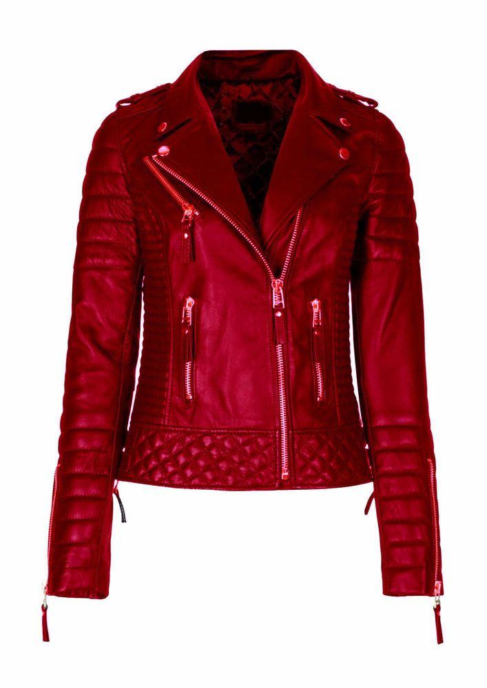 dc8f1b1f2cc Women s Leather Jacket Biker Motorcycle Style Slim fit Soft Lambskin ...