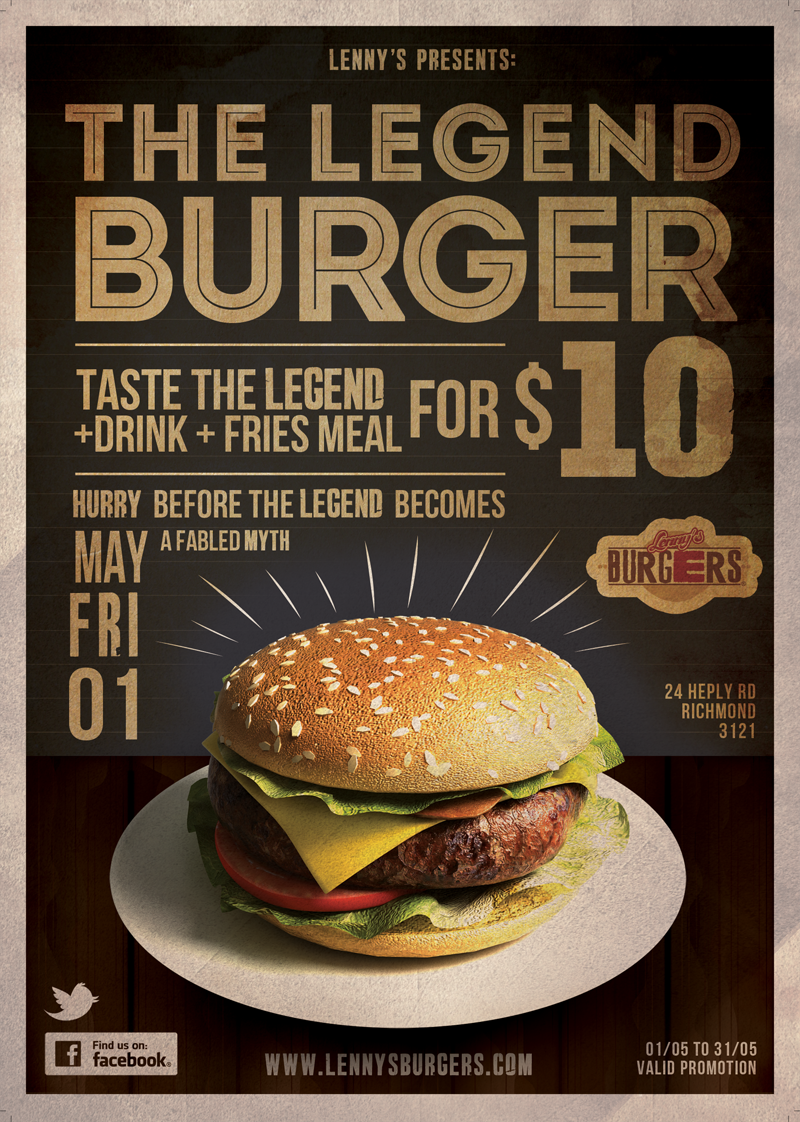 Flyer design for lenny s burgers graphicdesign food